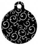 Black and White Swirls Pet ID Tag