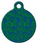 Green Flower Pattern Pet ID Tag
