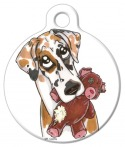 Image: Great Dane with Teddy Bear Dog Collar Tag