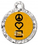 image: Peace, Love and Rawhide Chewies Pet ID Tag