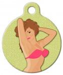 image: Pin Up Girl Pet ID Tag