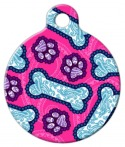 image: Pink Dog Paisley Pet ID Tag