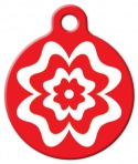image: Red and White Flower Dog ID Tag