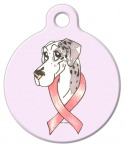 Image: Merlequin Great Dane Cancer Ribbon Dog ID Tag