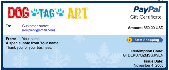 Gift Certificate from Dog Tag Art