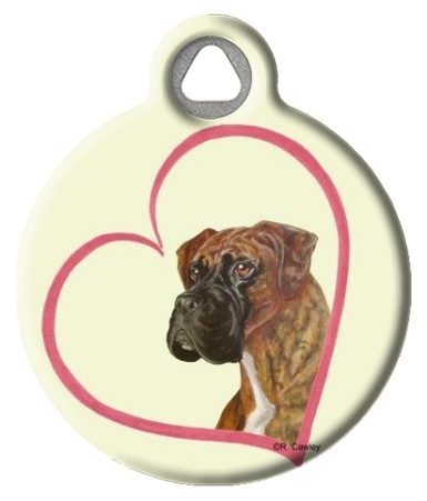 Boxer Heart Dog Pet Identification Tag