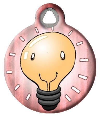 Happy Light Bulb Pet ID Tag