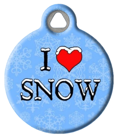 I Love Snow Dog Tag for Dogs