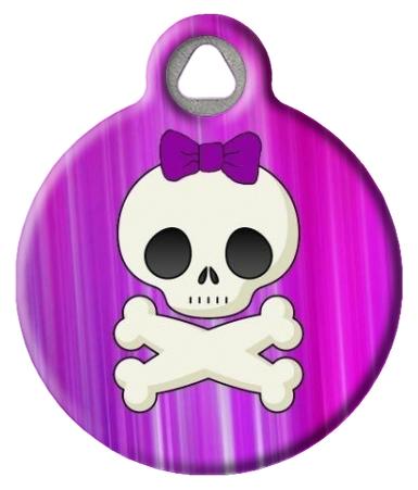 Girlie Skull Custom Dog Tag