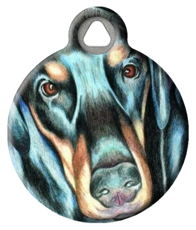 Illustrated Doberman Dog ID Tag
