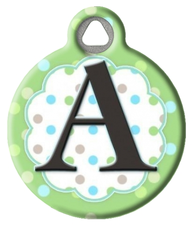Pastel Dots Monogram A-Z Pet ID Tag
