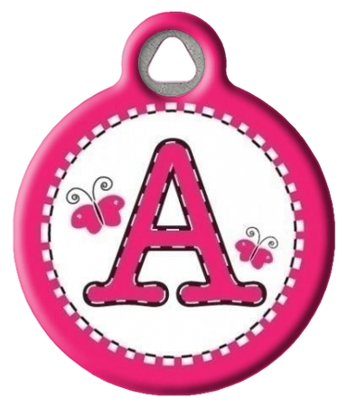 Pink Stitch Monogram A-Z Dog Tag