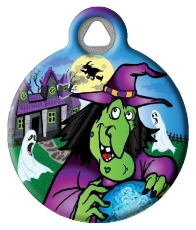 Spooky Halloween Witch Pet ID Tag