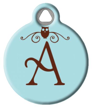 Owl Monogram A-Z Pet ID Tag