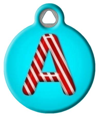 Peppermint Monogram A-Z Pet ID Tag