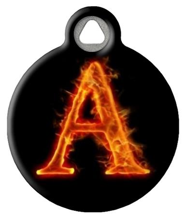Fire Monogram A-Z Custom Dog Collar Tag
