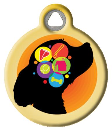 Dog Brain in Yellow Custom ID Tag