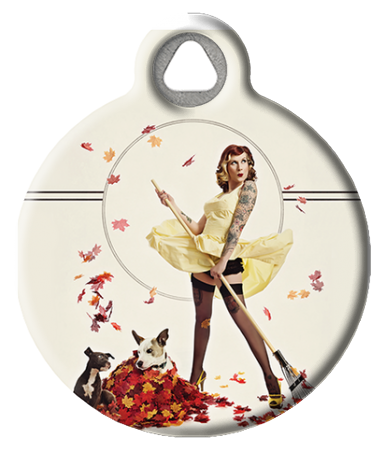 Autumn Leaves Pinup Dog Tag