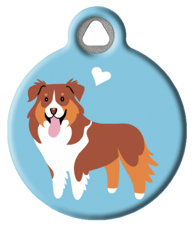 Aussie Shepherd (Red and Tan) Doggie ID Tag