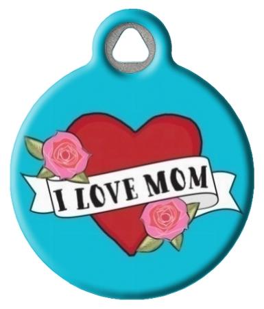 I Love Mom on Teal ID Tag