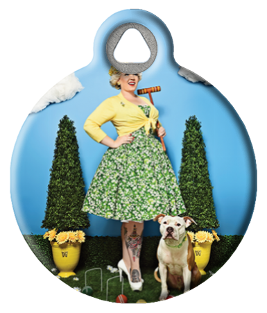 Coquettish Country Club Pinup Dog Tag
