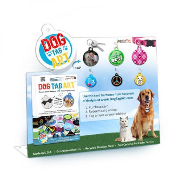 gift card counter display custom engraved dog id tags